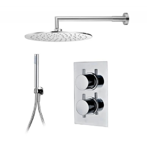 Abacus Emotion Thermostatic Concealed Shower Kit With Round Shower Head And Handset - Chrome